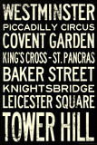 London Underground Vintage Stations Travel Plastic Sign Wall Sign