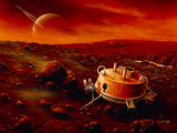 Artwork of Huygens Probe on the Surface of Titan Photographic Print by Detlev Van Ravenswaay