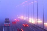 Vehicles Driving Through Fog on a Motorway Print by Jeremy Walker