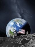 Americans on the Moon, Artwork Photographic Print by Detlev Van Ravenswaay