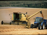 Combine Harvester Off-loading Grain Premium Photographic Print by Jeremy Walker