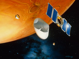 Artwork of Mars Polar Lander Arriving At Mars Photographic Print by Detlev Van Ravenswaay