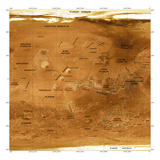 Mars Topographical Map, Satellite Image Photographic Print by Detlev Van Ravenswaay