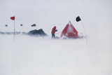 Field Camp In Antarctica During a Blizzard Photographic Print by David Vaughan