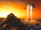 Artwork of Mars Polar Lander Descending Onto Mars Photographic Print by Detlev Van Ravenswaay