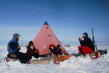 Antarctic Research Team Relaxing Outside Tent Photographic Print by David Vaughan