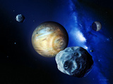 Pluto And Charon And Kuiper Belt Premium Photographic Print by Detlev Van Ravenswaay