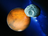 Phobos And Mars Photographic Print by Detlev Van Ravenswaay