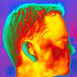 Thermogram of a Man's Head In Profile Photographic Print by Dr. Arthur Tucker