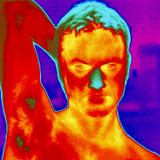 Thermogram of a Man's Head And Shoulders Photographic Print by Dr. Arthur Tucker