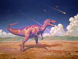 Tyrannosaurus Rex with Meteorites Photographic Print by Joe Tucciarone