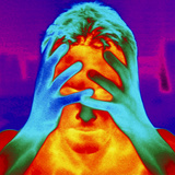 Thermogram of a Man's Head And Hands Photographic Print by Dr. Arthur Tucker