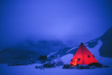 Illuminated Tent In Semi-darkness, Antarc Photographic Print by David Vaughan