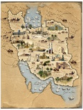 Iran, Pictorial Map Premium Photographic Print by  SMETEK