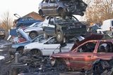 Cars In a Scrapyard Print by Mark Williamson