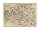 Vintage Paris Map Giclee-tryk i høj kvalitet af The Vintage Collection