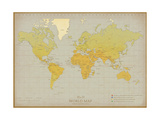 Vintage World Map Premium Giclee Print by  The Vintage Collection