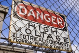 Danger High Voltage Sign In Cocoa Florida Photographic Print by Mark Williamson