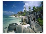 Anse Source d'Argent Beach, La Digue Island, Seychelles Giclee-tryk i høj kvalitet