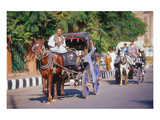 Horse and carriage on Riverside Drive in Luxor, Thebes West, Kena, Egypt Giclee-tryk i høj kvalitet
