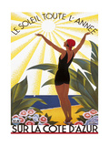 Sur la Cote d'azur Giclee-tryk i høj kvalitet af Roger Broders