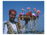 Flower Seller, Tunisia Giclee-tryk i høj kvalitet