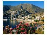Harbour of Symi, Greece Giclee-tryk i høj kvalitet