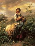 The Young Shepherdess Premium Giclée-tryk af Johann Baptist Hofner