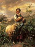 The Young Shepherdess Premium Giclee Print by Johann Baptist Hofner