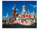 Orthodox Church with State Historical Museum and Kremlin Tower on Red Square, Moscow, Russia Premium Giclee Print