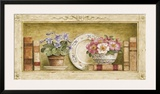 Potted Flowers with Plates and Books II Prints by Eric Barjot