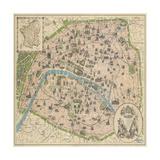 Vintage Paris Map Reproduction giclée Premium par  The Vintage Collection