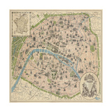 Vintage Paris Map Premium Giclee Print by  The Vintage Collection
