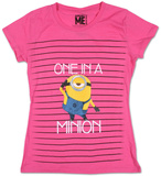 Juniors: Despicable Me 2 - Stripe Minion T-shirts