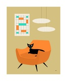 Mid Century Cat in Orange Chair Photographic Print by Donna Mibus