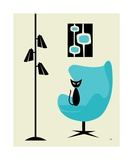 Mid Century Modern Cat in Turquoise Egg Chair I Photographic Print by Donna Mibus