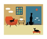 Mid Century Modern Dogs and Cats Fotoprint van Donna Mibus