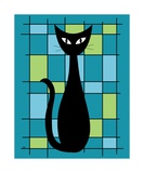 Abstract with Cat in Teal Photographic Print by Donna Mibus