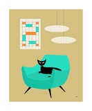 Mid Century Cat in Aqua Chair Photographic Print by Donna Mibus