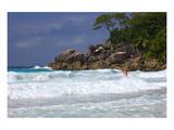 Beach of the Lemuria Resort of Praslin, Praslin Island, Seychelles Giclee-tryk i høj kvalitet
