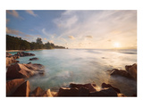 Anse Severe beach, La Digue Island, Seychelles Giclee-tryk i høj kvalitet
