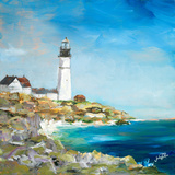 Lighthouse on the Rocky Shore I Prints by Julie DeRice