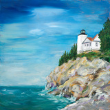 Lighthouse on the Rocky Shore II Print by Julie DeRice