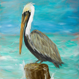 Pelicans on Post I Prints by Julie DeRice