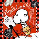 Red What's Cookin Chef Art by Rebecca Lyon