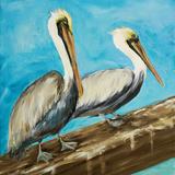 Pelicans on Post II Posters par Julie DeRice