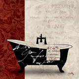 Red & Black Bath Tub I Print by Elizabeth Medley