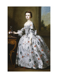 Portrait of a Girl, in a Grey Satin Dress with Elaborate Floral Embroidery Prints by Dandridge Bartholomew