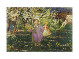 Children in an Orchard in Blossom Print by Henri Lebasque