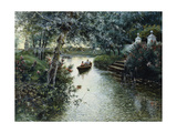 A River Landscape with Figures in a Boat Giclee Print by Manuel Garcia		 Rodriguez